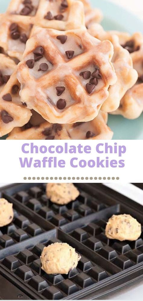 """Easy Chocolate Chip Waffle Cookie recipe! These cookies are awesome because you actually make them in a waffle iron. No oven required! The dough is super easy to make and the cookies themselves """"bake"""" in 2-3 minutes!"""