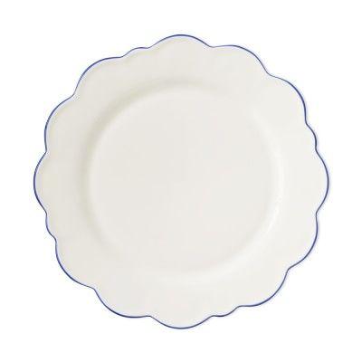 AERIN Scalloped Rim Dinner Plates, Set of 4, Blue | Williams Sonoma