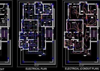 Twin House Space Planning 35 X65 Floor Layout Dwg Free Download Floor Layout Space Planning Electrical Layout