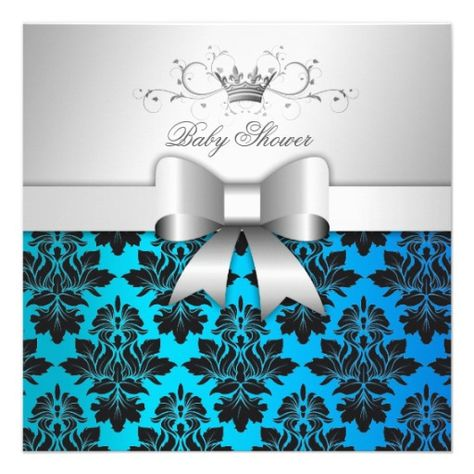 311-Blackberry Tropical Blue Damask | Baby Shower Announcement