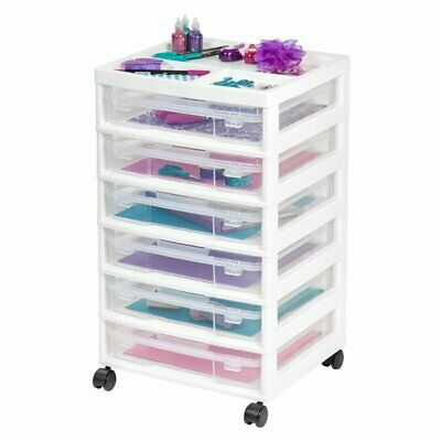 White 6 Drawer Scrapbook Rolling Plastic Cart Craft Storage Paper Organizer Case In 2020 Scrapbook Storage Craft Storage Storage Cart