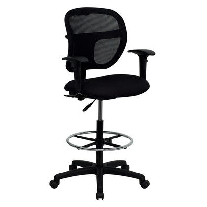 flash furniture mid back black mesh drafting chair with adjustable
