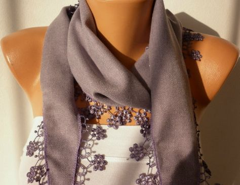 Lilac  Scarf  Pashmina  Scarf  Headband Necklace Cowl by fatwoman, $13.50