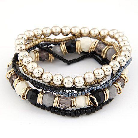 Summer Style Beaded Bracelet Bohemia Stretch Multilayer Flower Charm Bangle