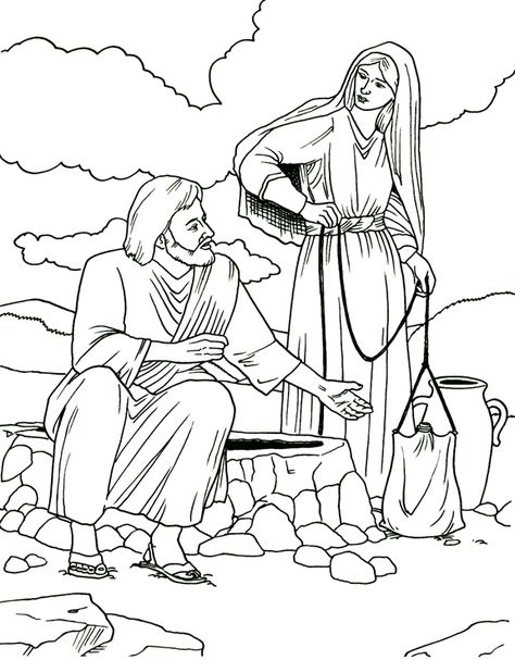 Samaritan Woman Coloring Page Sunday School Coloring Pages