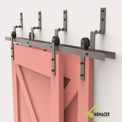 Homacer Straight Strap Barn Door Hardware Size 16 Feet Bracket Type N A Barn Door Hardware T Bypass Barn Door Interior Barn Doors Bypass Barn Door Hardware