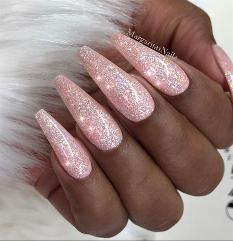 Pink Glitter Coffin Shaped Nails