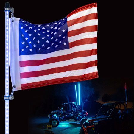 Krator 4ft Multi Color Led Whip Light With Remote Control And American Usa Flag Led Antenna Whip Light For Sand Dune Buggy Atv Utv Rzr Jeep Trucks And O In 2020