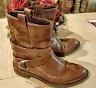 Brunello Cucinelli Brown Leather Buckle Boots 37 EUC!  #WomenBoots