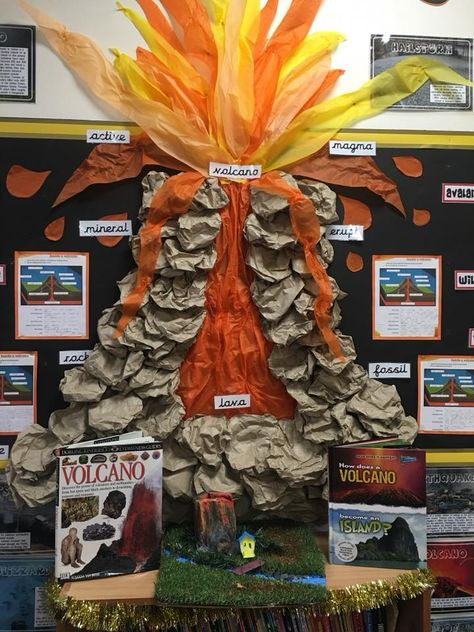 classroom display - Volcano. An explosive display that captures every child in my class! Encouraged them to produce amazing work to be added to this display. With thanks to Gail Brook for sharing this display.