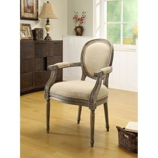 Oxford Beige Linen Arm Chair   Overstock.com
