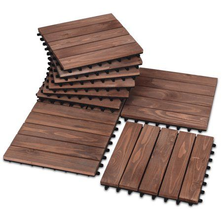 Costway 11pcs Deck Tiles Fir Wood Patio Pavers Interlocking Decking Flooring 12x12 Walmart Com Wood Deck Tiles Patio Tiles Paver Patio