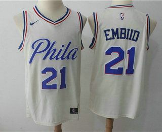 4096dac4fda4 Men s Philadelphia 76ers  21 Joel Embiid Cream Nike City Edition Swingman  Jersey