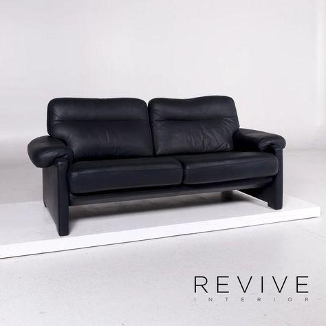 De Sede Ds 70 Leder Sofa Blau Dunkelblau Dreisitzer Couch 11173