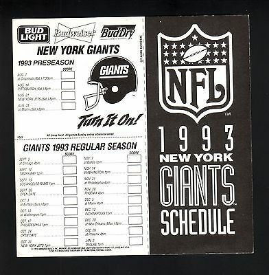 Sponsored New York Giants 1993 Window Decal Schedule Budweiser In 2020 New York Giants New York Giants Schedule Los Angeles Dodgers Baseball