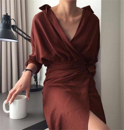 Summer Fashion Women Sexy V Neck Slim Hem Split Casual Temperament Ban – ebuytrends