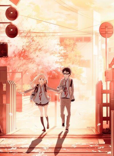 Miyazono Kaori And Arima Kousei Shigatsu Was Kimi No Uso Anime