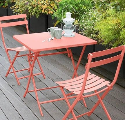 Table pliante carrée Greensboro - 2 Places - Corail - 509315 ...