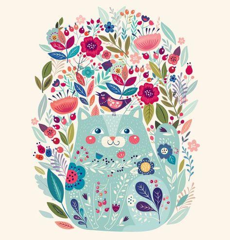 Удивительное искусство печать с милой кошкой птицей и цветами