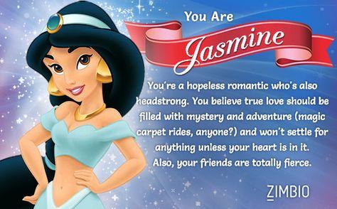 I took Zimbio's Disney princesses personality quiz and I'm Jasmine! Who are you? #ZimbioQuiz