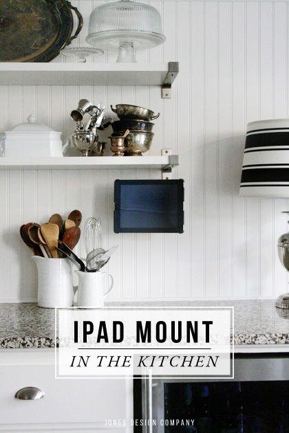 ipad mount in the kitchen - Jones Design Co