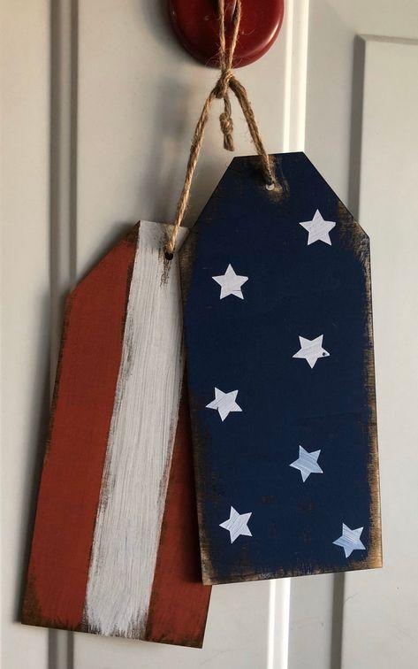American Flag Rustic Door Tags
