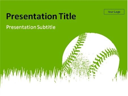 Baseball Powerpoint Template Download Baseball On Grass With Blue