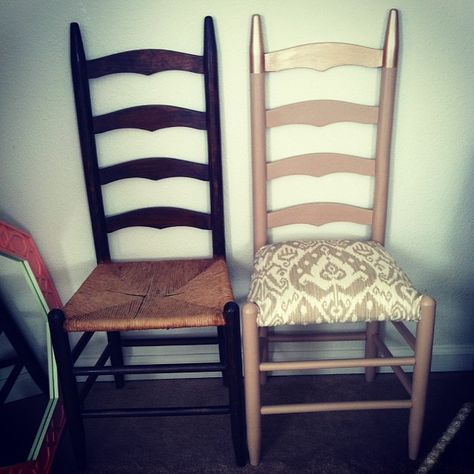 """$12 Chair. Found ladder back chairs on craigslist (6 for $50), reject paint @ Lowes was $2.50/qt, outdoor fabric @ Joann's (plus extra scotch guarding) $18.00/2yds. Had """"rose gold"""" Martha Stewart Paint, for """"dipping"""" effect, left over from a previous project. I just so happened to have six 12x12 feather pillows I've been trying to find a use for in my mountainous pillow collection. Very comfy! LOVE these chairs."""