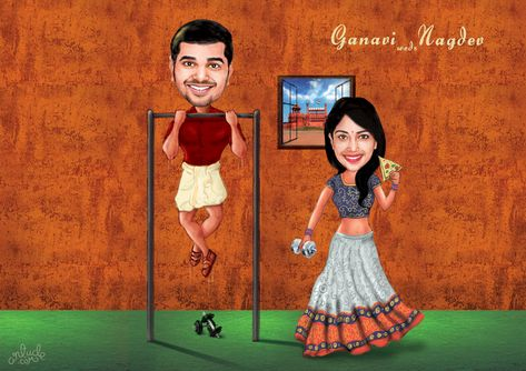 Funny Wedding Caricature of Couples!