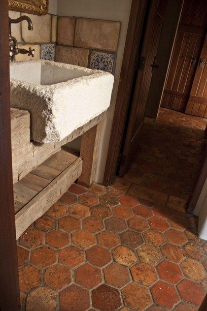 This Brick Bathroom Floor Is Wright S Ferry Tiles In The