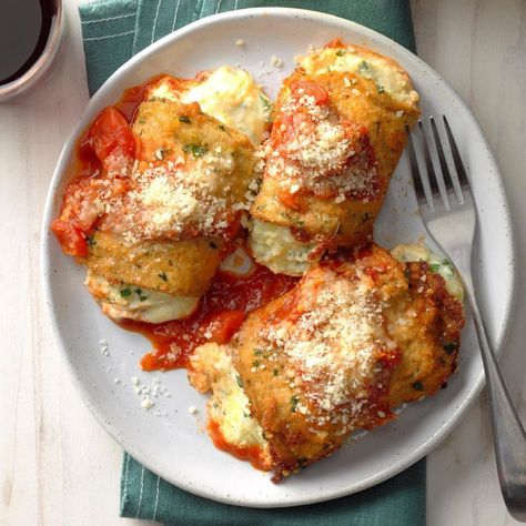 Get Eggplant Rollatini Recipe from Food Network Giada De Laurentiis, Italian Dishes, Italian Recipes, Brie, Food Network, Ricotta Cheese Recipes, Fontina Cheese, Goat Cheese, Eggplant Rolls