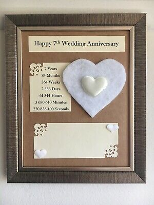 7th Wedding Anniversary Frame Rustic Gift Wool 3d Handmade Wooden Heart 22x27cm Ebay Anniversary Frame Traditional Anniversary Gifts 13th Wedding Anniversary Gift