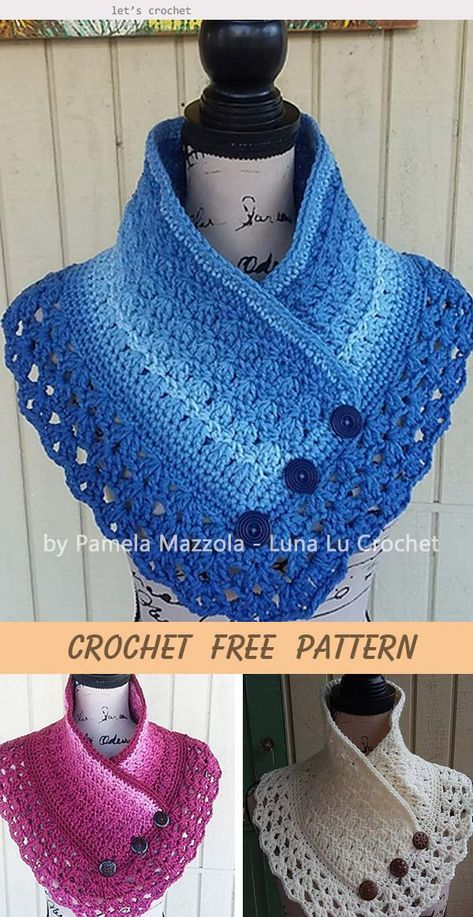Most current Absolutely Free Crochet cowl neck warmer Popular Crochet Lacey Charma Neck Warmer Free Pattern Col Crochet, Crochet Cowl Free Pattern, Crochet Poncho, Crochet Scarves, Crochet Clothes, Free Crochet, Crochet Patterns, Crochet Hats, Knitted Shawls