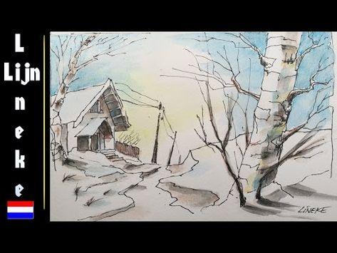 landschap tekenen met aquarel potloden -les 3 polder vergezicht