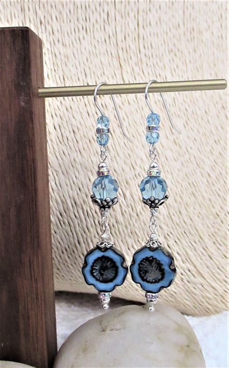 🐕 Big deals! Sterling Silver , Swarovski Crystal and Czech Glass Earrings, Swarovski, Crystal, Dangle, Gift For Her only at $38.00 Hurry. #unique #crystals #SwarovskiEarrings #swarovski #woman #SwarovskiCrystals #art #handmade #CzechGlass #Jewelry