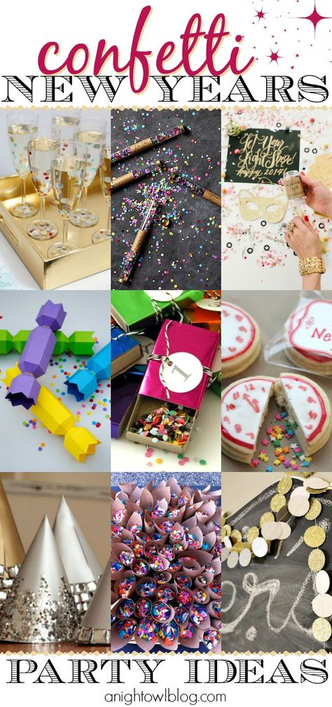 Make your NYE party TONS of fun with these Confetti New Years Eve Party Ideas! #newyears #NYE #confetti