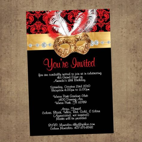 Masquerade Ball Digital Invitation for sweet sixteen quinceanera