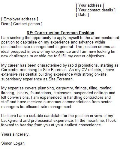Cover Letter Template Joinery - Carpenter Cover Letter Sample
