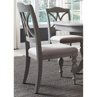 Summer House Dove Grey Decorative Slat Back Side Chair In
