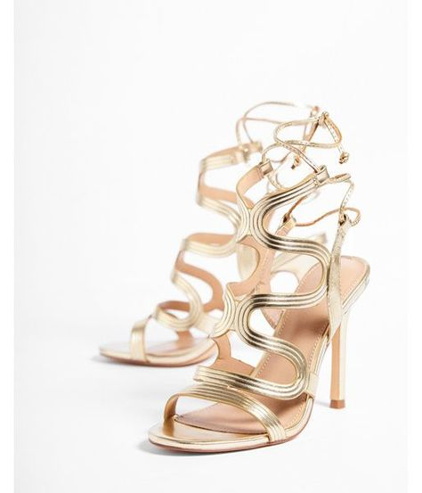 21bb0f60739e Metallic Swirl Caged Heeled Sandal by Express  69.90
