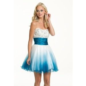 White and Blue Short Prom Dress