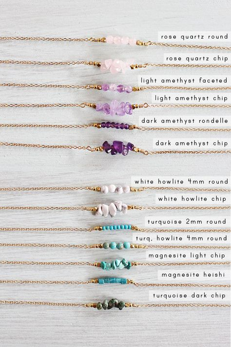 My gemstone bar necklace is a simple design that makes a lovely gift for yourself or a friend.  This delicate necklace design features a row of gemstone beads of your choice alongside two metal beads. The gemstone bar is about an inch long.  Birthstones: January: Rose Quartz February: Amethyst March: Aquamarine (coming soon) or Amazonite April: Crystal Quartz (coming soon) or Apatite May: Chrysoprase (coming soon) June: Moonstone July: Ruby (coming soon) August: Labradorite or Aventurine Sept...