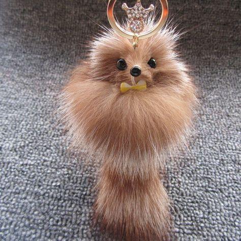 Fashion Brand Real Fox Fur Pom Pom Keychain Car Key Ring Crystal Crown Pendant C… – Most Beautiful Fur Models