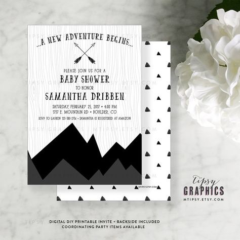 Mountain Greatest Adventure Black and White Baby Shower Printable Invitation. By Tipsy Graphics by MTipsy on Etsy Other Colors available!