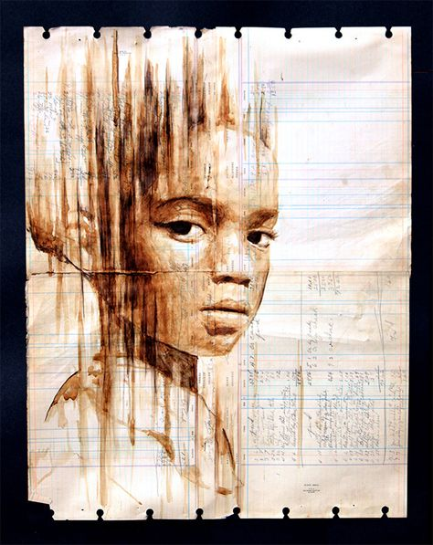 Portraits Painted with Coffee on Century-Old Ledger Paper by Michael Aaron Williams