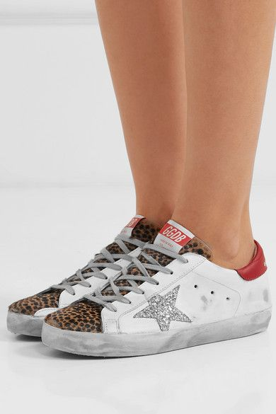 Superstar glittered distressed leather