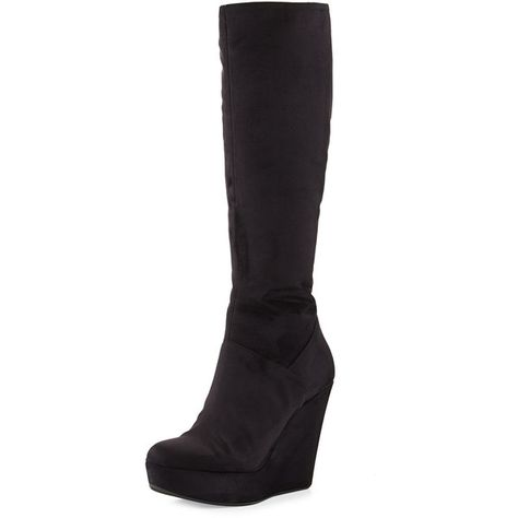 41b05481120 Dee Keller Barbara Suede Wedge Knee Boot ( 116) ❤ liked on Polyvore  featuring shoes