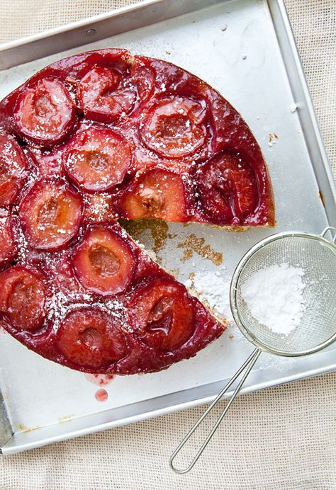 Plum Tatin Cake-soooo excited!  Have looked for this recipe forever!  A dear friend, Anni always made this for me.  Lost her before she passed down the recipe.
