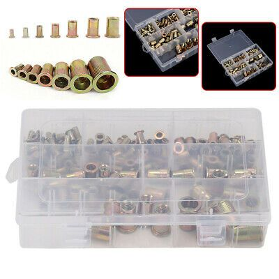 165pcs Mixed Rivet Nut Tool Kits Zinc Steel Rivnut Insert Threaded Nutsert M3-12
