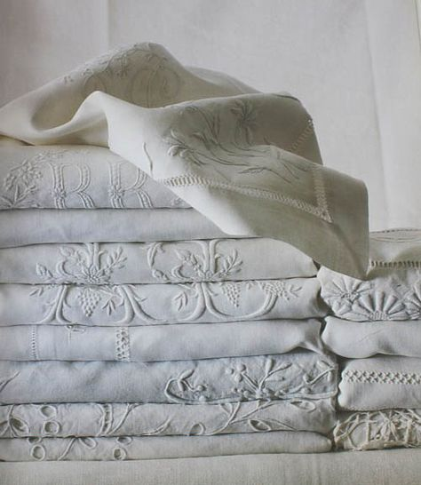 Fine, embroidered antique french linen sheets, now at Vintageblessings.com (Ebay or Rubylane)